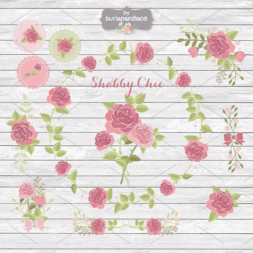 Shabby chic rose cliparts ~ Illustrations ~ Creative Market