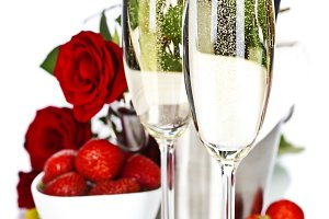 Romantic still life with champagne