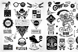 Hipster label, icon, elements set 2