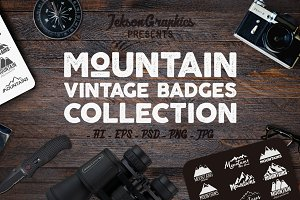 Mountain Vintage Badges Set