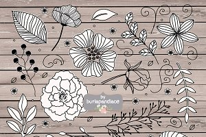 Vector Rustic Black flowers cliparts
