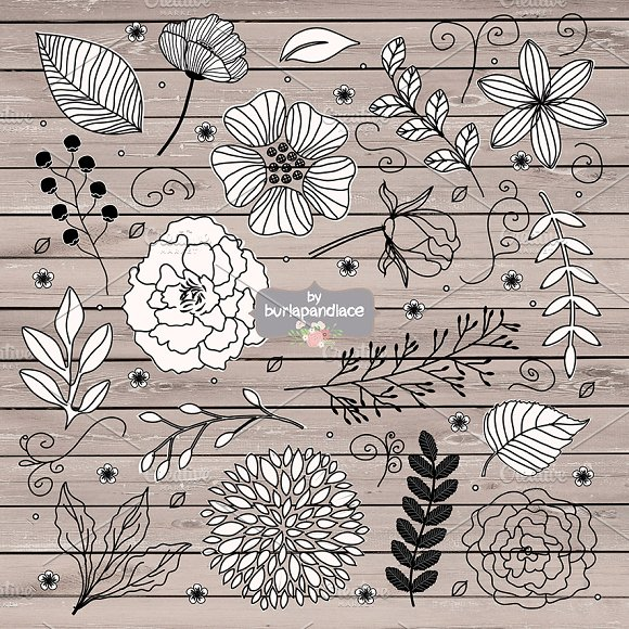 Vector Rustic Black Flowers Cliparts Illustrations Creative Market