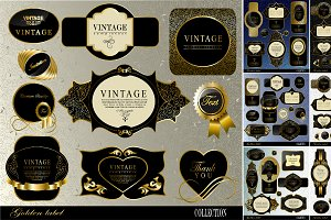 black gold frame label set 3