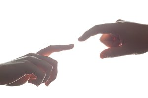 Gentle gesture between man and woman