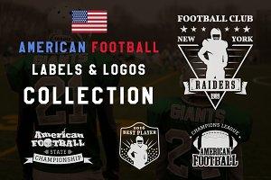 American Football Labels Set