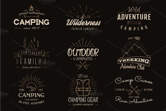 Outdoor Adventure Badges, Camp Logos in Logo Templates - product preview 4