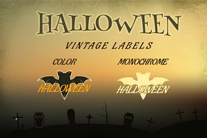Halloween Vintage Labels & Banners