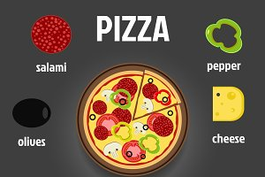 Pizza and Ingredients Illustration