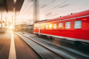 High speed train in motion. Railroad