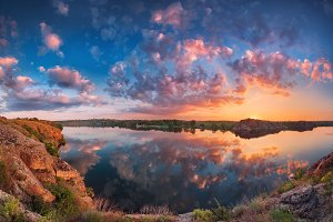panoramic landscape. Colorful sky