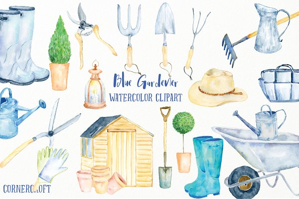 Watercolor Clipart Blue Gardener