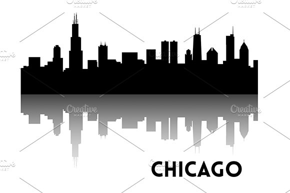chicago skyline silhouette illustrations creative market