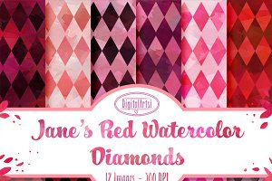 Pink/Red Watercolor Diamond Patterns