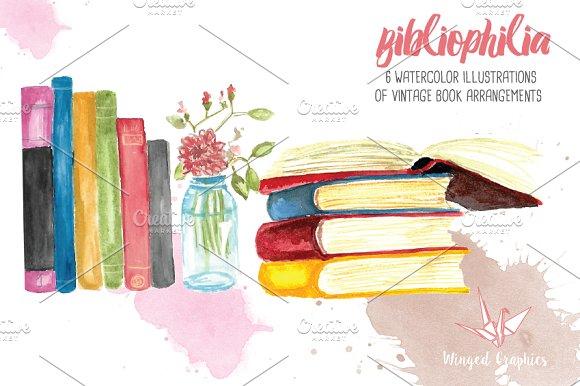 Bibliophile watercolor books illustrations creative market