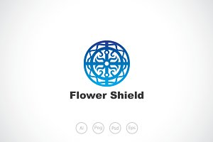 Flower Shield Logo Template