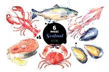 Watercolor Sketch Seafood Vector Set