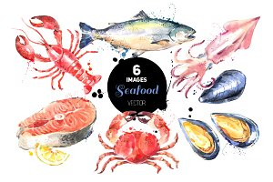 Watercolor Sketch Seafood Vector Set