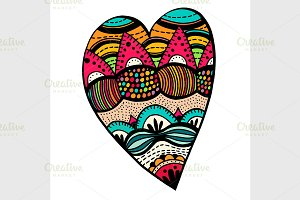 Hand drawn colored hearts