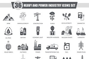 Heavy & power industry black icons