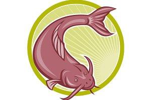 Angry Catfish Diving Down Cartoon