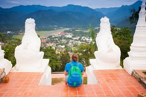 Man on the Mae Hon Song view