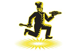 Chef Cook Serve Plate Running Retro