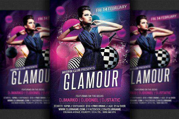 glamour party flyer template flyer templates creative market