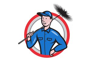 Chimney Sweeper Cleaner Circle Retro