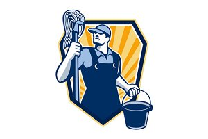 Janitor Cleaner Hold Mop Bucket
