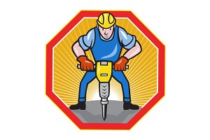 Construction Worker Jackhammer Hexag
