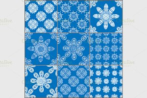 set of classical blue ceramic tiles