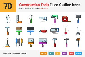 70 Construction Tools Outline Icons