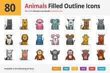 80 Animals Filled Outline Icons