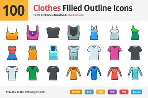 100 Clothes Filled Outline Icons