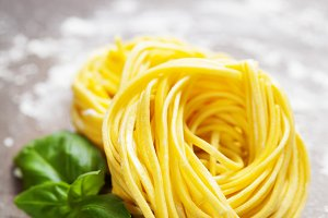 Fresh pasta and basil