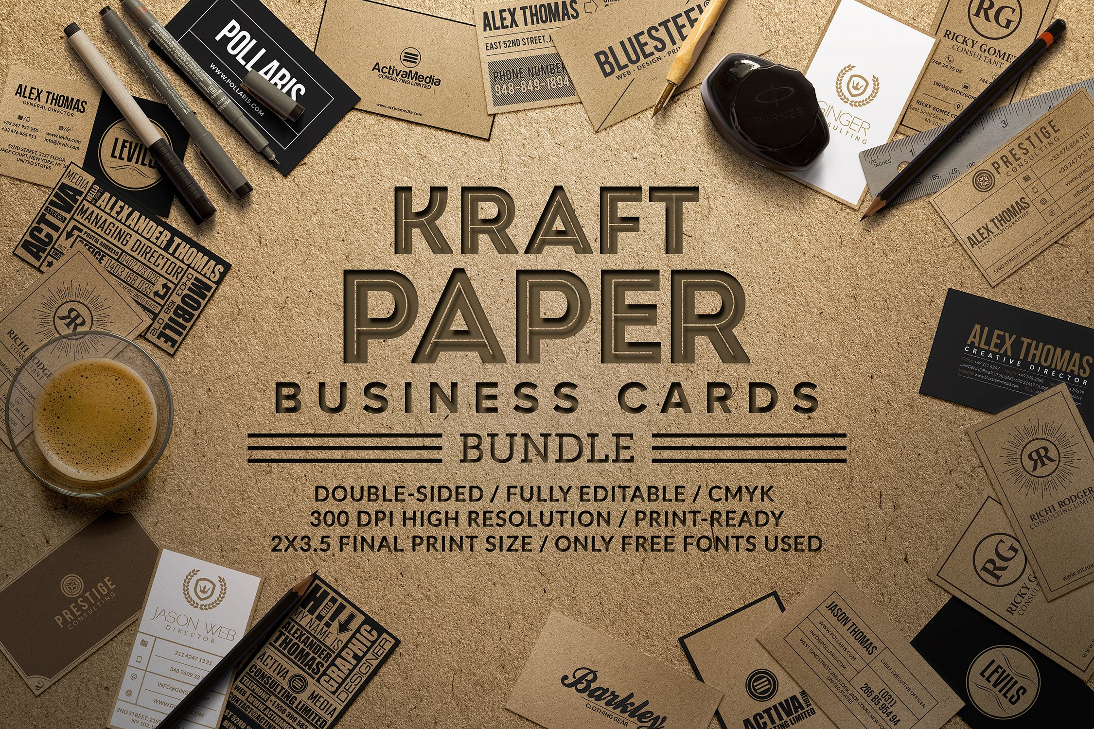 kraft paper business cards bundle business card templates creative market - Business Card Paper