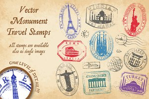 Monument Vector Travel Stamps 1