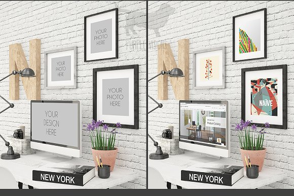 Imac And Photo Frames Office Mockup Product Mockups Creative