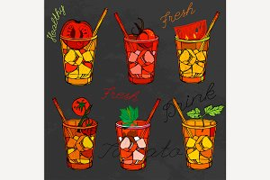 Tomato Juice Vector Set