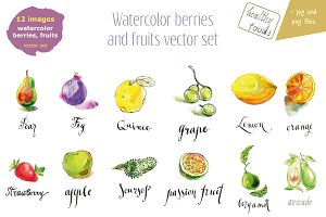 Watercolor fruits and berries-1
