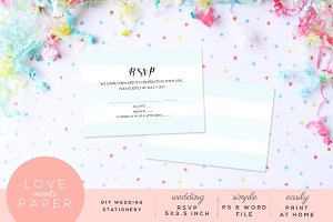 Wedding RSVP Card Template R1021
