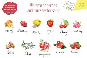Watercolor berries and fruits-2