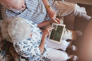 Senior couple looking images