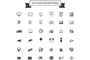 Advertisement and marketing icon set