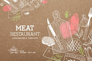 Meat Restaurant illustrations
