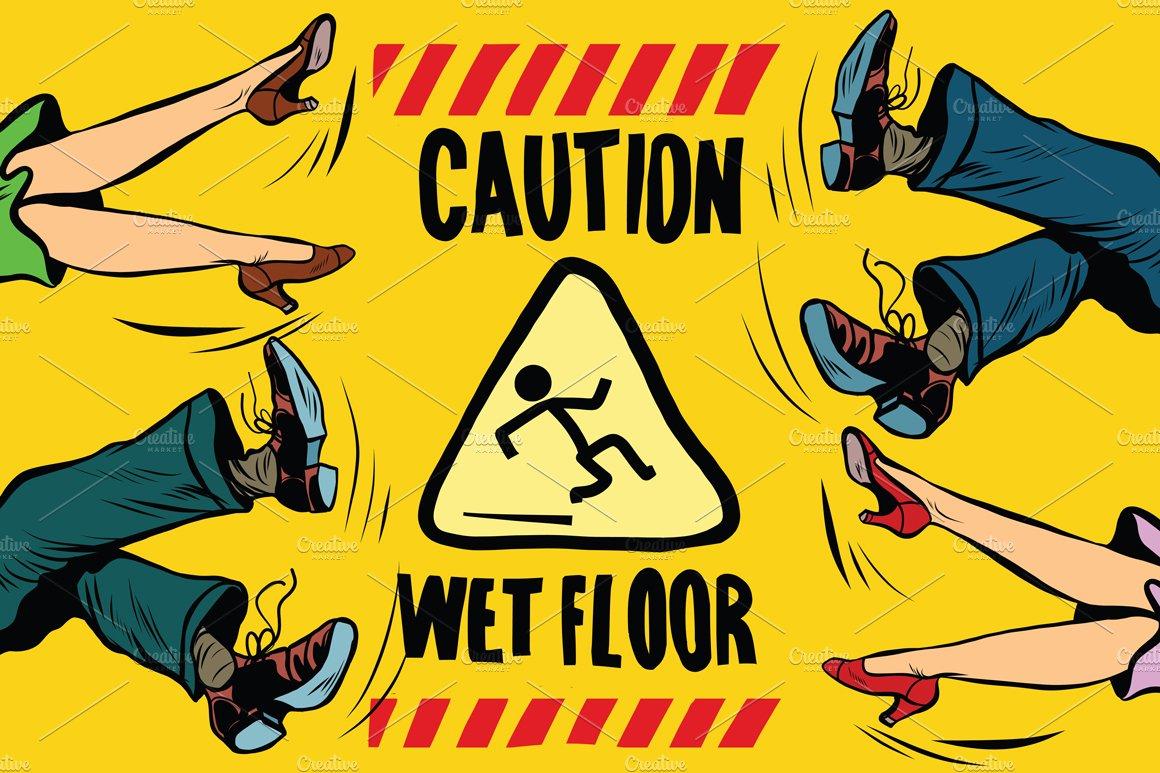 Caution Wet Floor Illustrations Creative Market