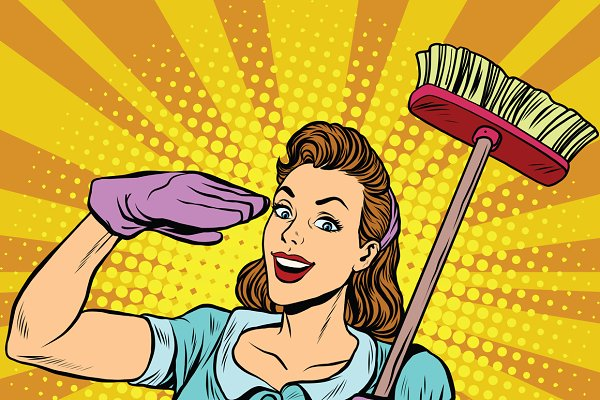 Female cleaner cleaning company