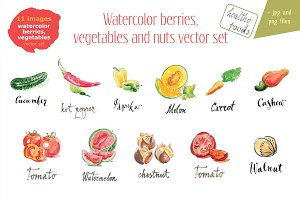 Watercolor vegetables, berries, nuts
