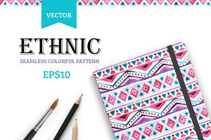 Seamless colorful aztec pattern.