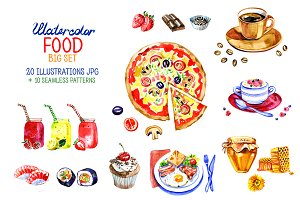 Big watercolor food set.
